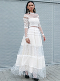 LONG SLEEVE LACE MESH WAVE POINTS HALF HIGH NECK DRESS