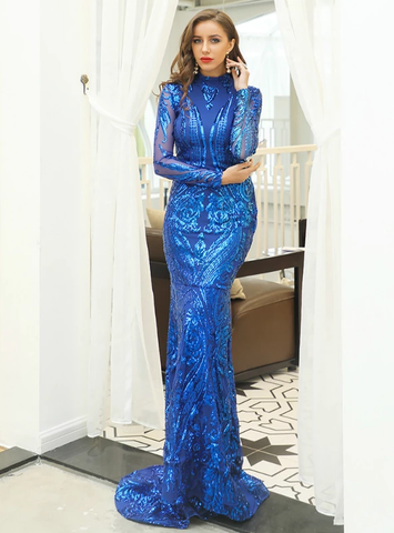 BLUE LONG SLEEVE HIGH NECK SEQUINS PARTY DRESS