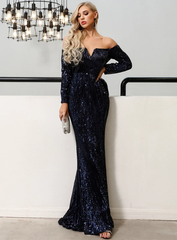 SEXY SHOULDER SEQUINS LONG SLEEVE PARTY DRESS