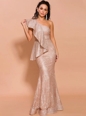 LOTUS LEAF BRIM SHOULDER SPARKLING SEQUINS FISHTAIL DRESS