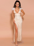 SEXY SPLIT V-NECK FEATHER SEQUIN PARTY DRESS