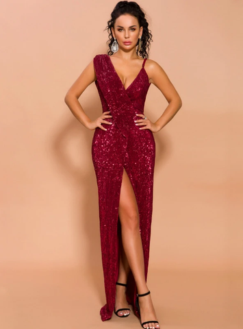 SEXY IRREGULAR SEQUINS WINE RED EVENING DRESS