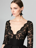 LACE RUFFLE SEXY MINI DEEP V-NECK BACKLESS DRESS