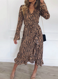 CASUAL LONG SLEEVE V NECK RUFFLES ELEGANT PARTY DRESS