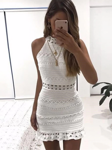 Hollow Out White Summer Lace Stitching Chic Short Club Party Dress
