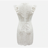 Ruffles Floral Sexy Hollow Out White Summer Sleeveless Lace Mini Dresses