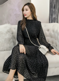 WOMEN LONG SLEEVED POLKA DOT PLEATED DRESS
