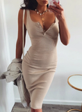 KNEE-LENGTH DRESS KNITTED ELASTIC SLEEVELESS BODYCON DRESS