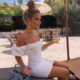 ROMANCE PARTY NIGHT LACE UP BODYCON OFF SHOULDER CLUB SLIM DRESS