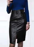 ELEGANT PENCIL MIDI SKIRTS HIGH WAIST BLACK PU LEATHER
