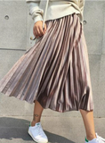 MAXI PLEATED SKIRT MIDI SKIRT HIGH WAIST ELASCITY CASUAL PARTY SKIRT