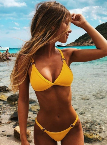WOMEN SWIMSUITS SOLID PUSH UP SWIMWEAR
