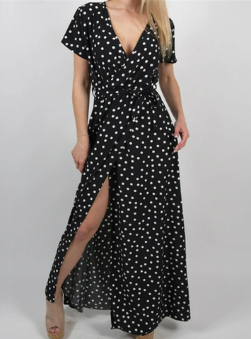 SLEEVE BEACH SUNDRESS CASUAL DOT PRINT LONG DRESS