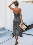 MEDIUM LONG DOT SPAGHETTI STRAP DRESS