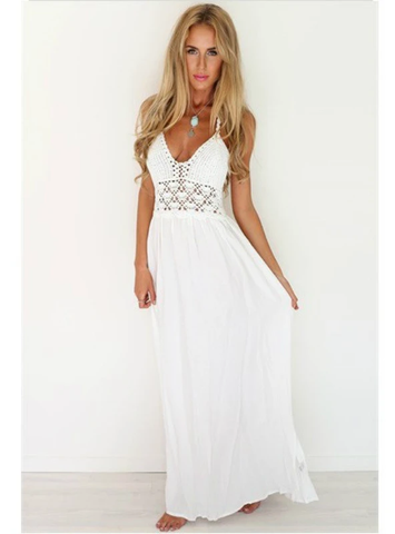 CROCHET BACKLESS BOHEMIAN HALTER MAXI LONG DRESS