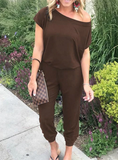 OFF SHOULDER ELASTIC WAIST STRETCHY JUMPSUIT