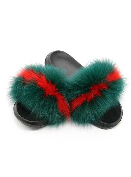 WOMEN FOX FUR SLIPPERS REAL FUR SLIDES FEMALE