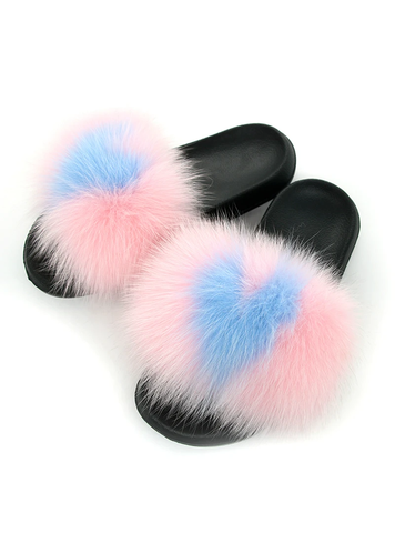 SANDALS INDOOR SLIPPERS LADY FUR FLIP FLOPS PLUSH SHOES