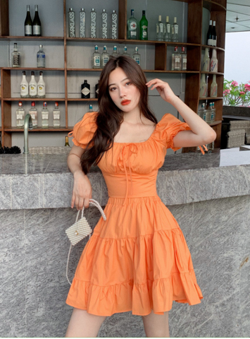 Solid Frill Hem Sashes Knotted Backless Sweet Young Style Woman Dress