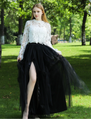 Sexy Black Irregular Tulle Skirt