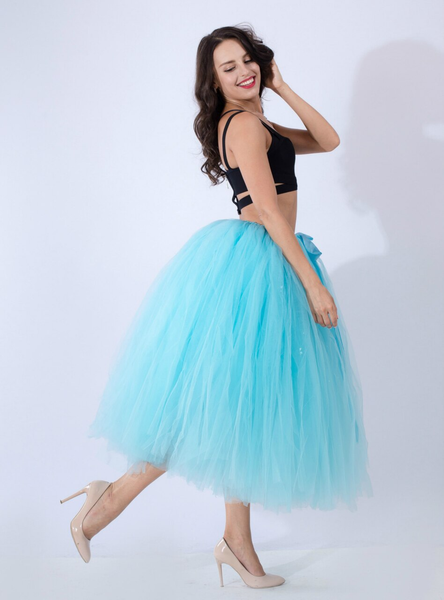 Women Sky Blue Tulle Tutu Middle Skirt