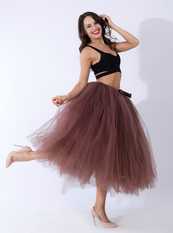 Women Coffee Tulle Tutu Middle Skirt