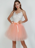 Peach Pink 7-Layer Short Tulle Skirt