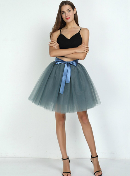 Smoke Gray 7-Layer Short Tulle Skirt