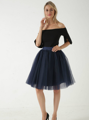 Navy Blue 5 Layer Mesh Tutu Skirt