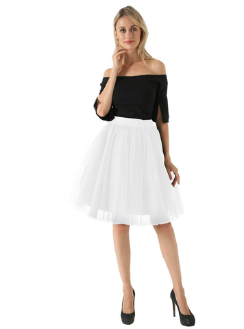White 5 Layer Mesh Tutu Skirt
