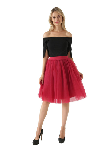 Burgundy 5 Layer Mesh Tutu Skirt
