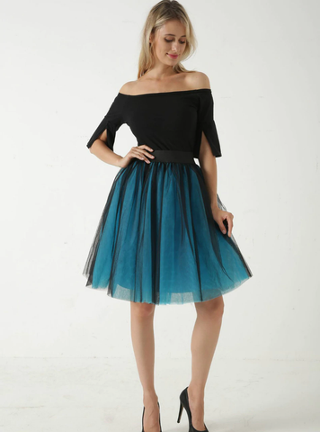 Blue + Black 5 Layer Mesh Tutu Skirt