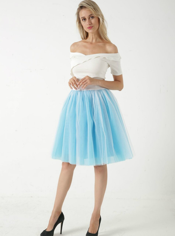 Blue + White 5 Layer Mesh Tutu Skirt