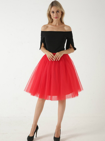 Red 5 Layer Mesh Tutu Skirt