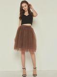 Coffee 5 Layer Mesh Tutu Skirt