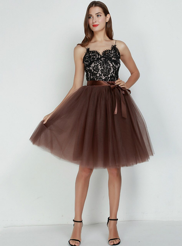 Coffee 7 Layers Tulle Tutu Skirt