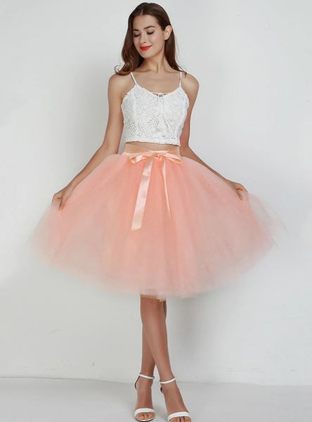 Peach Pink 7 Layers Tulle Tutu Skirt