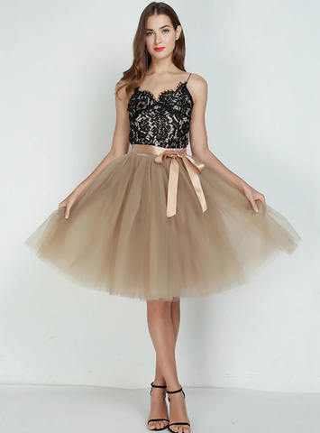 Khaki 7 Layers Tulle Tutu Skirt