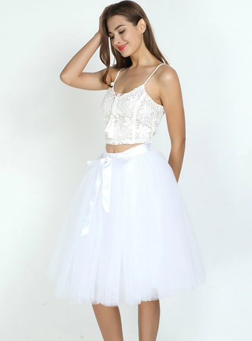 White 7 Layers Tulle Tutu Skirt