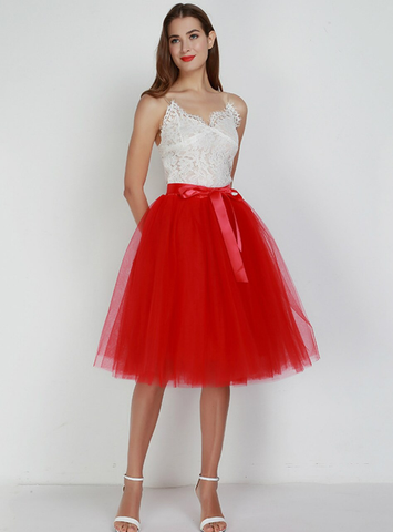 7 Layers Red Tulle Tutu Skirt