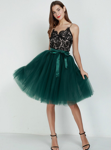 7 Layers Green Blue Tulle Tutu Skirt