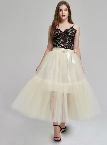 4 Layers Beige Tulle Tutu Skirt