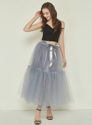 4 Layers Gray Tulle Tutu Skirt