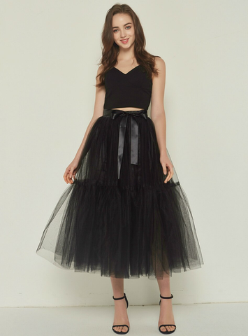 4 Layers Black Tulle Tutu Skirt