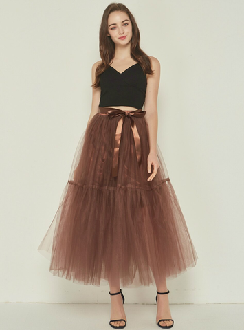 4 Layers Coffee Tulle Tutu Skirt