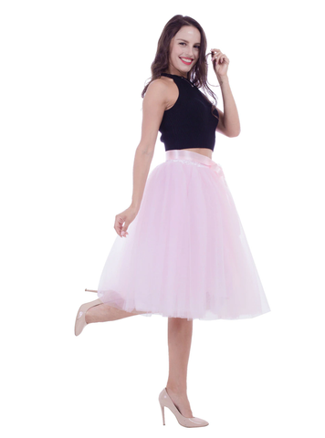 Pink Belt Puff Dance Tulle Skirt