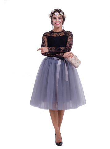Women Gray Belt Puff Tulle Skirt