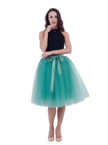 Women Light Green Belt Puff Tulle Skirt