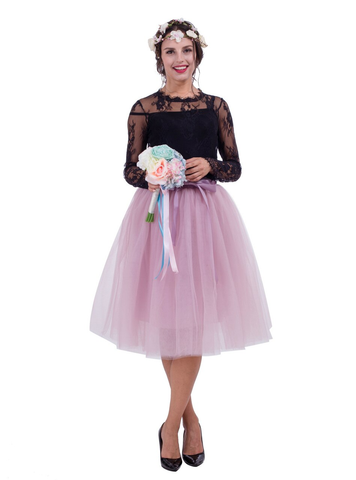 Women Dusty Pink Belt Puff Tulle Skirt