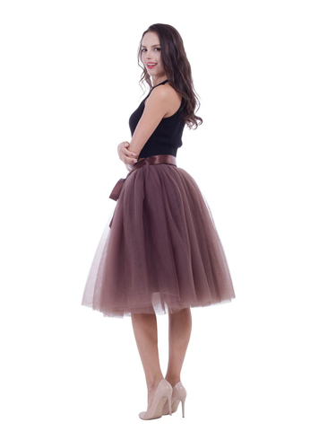 Coffee Gauze Belt Puff Tulle Skirt